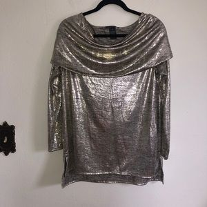 Chelsea and Theodore Metallic Off Shoulder Tunic
